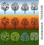 abstract swirly trees. vector... | Shutterstock .eps vector #73154140