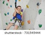 child climbing on a high wall | Shutterstock . vector #731545444