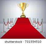 gold cup of the winner on a red ... | Shutterstock .eps vector #731554510