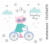 cat on a bicycle vector... | Shutterstock .eps vector #731556370