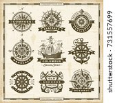 vintage nautical labels... | Shutterstock .eps vector #731557699