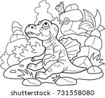 cartoon newborn spinosaurus ... | Shutterstock .eps vector #731558080