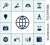 globe icon business set simple... | Shutterstock .eps vector #731559388
