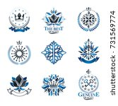 royal symbols  flowers  floral... | Shutterstock .eps vector #731569774