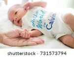 hand the sleeping baby in the... | Shutterstock . vector #731573794