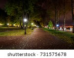 city night park in autumn after ... | Shutterstock . vector #731575678
