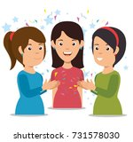 smiling women clapping cheerful ... | Shutterstock .eps vector #731578030