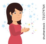 smiling woman clapping cheerful ... | Shutterstock .eps vector #731579764