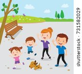 family walking in the park | Shutterstock .eps vector #731582029