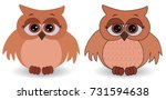 two sad pink owls with... | Shutterstock .eps vector #731594638