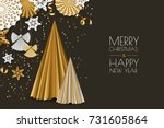 merry christmas  happy new year ... | Shutterstock .eps vector #731605864