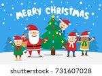 merry christmas holidays. cute... | Shutterstock .eps vector #731607028
