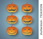 set of halloween pumpkins | Shutterstock .eps vector #731610106