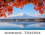 mt. fuji viewed with maple tree ... | Shutterstock . vector #731615416