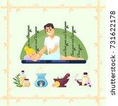 massage room spa. masseuse... | Shutterstock .eps vector #731622178