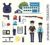 police professional equipment... | Shutterstock .eps vector #731622190