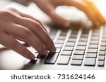woman working on laptop. | Shutterstock . vector #731624146