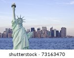 Statue Of Liberty With New York ...