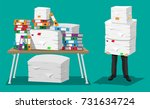 businessman holds pile of... | Shutterstock .eps vector #731634724