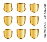 gold shield shape icons set. 3d ... | Shutterstock .eps vector #731636200