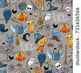 seamless pattern with halloween ... | Shutterstock .eps vector #731636566