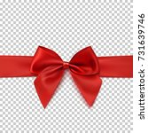 realistic red bow and ribbon... | Shutterstock .eps vector #731639746