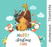 cute merry christmas card with...   Shutterstock .eps vector #731641456
