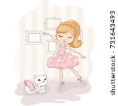 cute girl vector design.t shirt ... | Shutterstock .eps vector #731643493