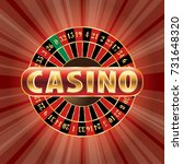 casino sign with roulette on... | Shutterstock .eps vector #731648320
