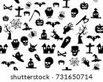 seamless halloween icons pattern | Shutterstock . vector #731650714
