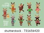Santa's Reindeer Set. Vector...