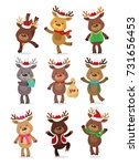 Stock vector santa s reindeer set vector illustrations of reindeer isolated on white background 731656453