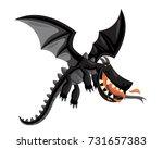cute happy flying black dragon... | Shutterstock .eps vector #731657383