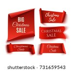 set of five red  christmas sale ... | Shutterstock . vector #731659543