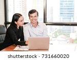 business couple working... | Shutterstock . vector #731660020