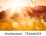 sunset over mountain with  ... | Shutterstock . vector #731666323