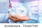doctor shows the structure of a ... | Shutterstock . vector #731667769