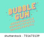 Vector retro Bubble gum bold font design, alphabet, typeface, typography. Vector illustration