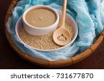 tahini and sesame seeds   food... | Shutterstock . vector #731677870