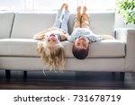 a pretty little girl and boy... | Shutterstock . vector #731678719