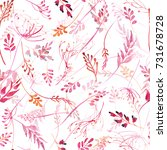 romantic watercolor pink branch ... | Shutterstock . vector #731678728