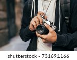 closeup of man in hipster... | Shutterstock . vector #731691166