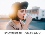 attractive adorable woman with... | Shutterstock . vector #731691370