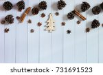 christmas decoration on the... | Shutterstock . vector #731691523