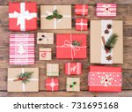 christmas presents on brown... | Shutterstock . vector #731695168