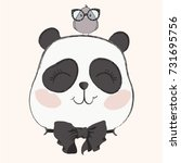 cute panda with bird vector... | Shutterstock .eps vector #731695756