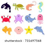 big vector set of sea creatures.... | Shutterstock .eps vector #731697568