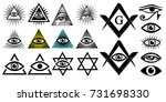 all seeing eye. illuminati... | Shutterstock .eps vector #731698330