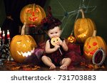 little witch girl child... | Shutterstock . vector #731703883