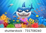 cartoon shark with coral reef... | Shutterstock .eps vector #731708260
